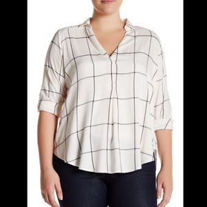 NWT Lush windowpane woven shirt